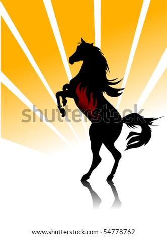 black horse galloping on a orange background; - stock vector