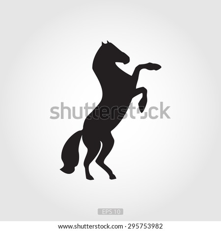 Black horse silhouette on a white background, the logo for designers, artists, etc. - stock vector