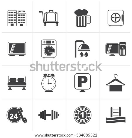 Black Hotel and motel icons - Vector icon Set - stock vector