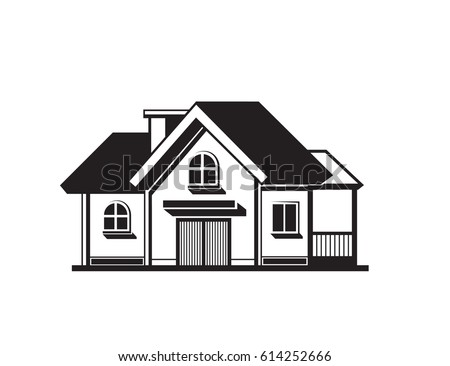 Black House Front Icon On White Background Vector Illustration
