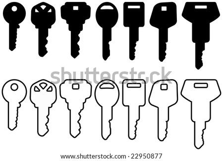 black house key icon set - stock vector