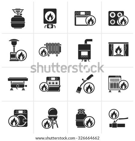 Black Household Gas Appliances icons - vector icon set - stock vector
