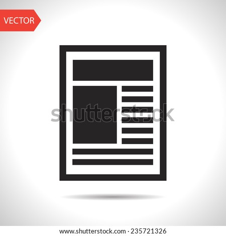 black icon of newspaper - stock vector
