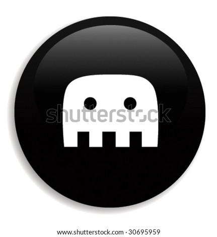 black icon or web button with sign - stock vector