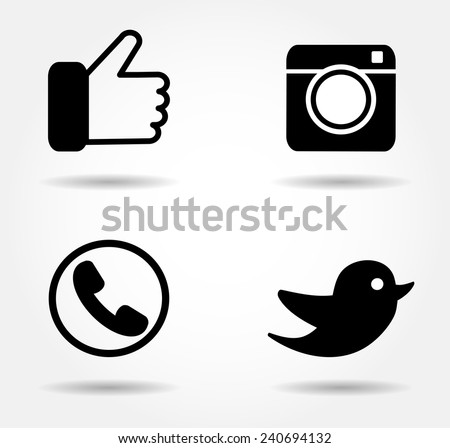 Black icon set Vector illustration EPS 10 - stock vector