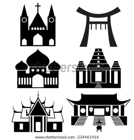 Black icon show each religious place architecture - Christ , Islam , Hindu , Buddhism (EPS10 separate icon by icon) - stock vector