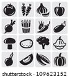 black icon vegetables vector set - stock vector