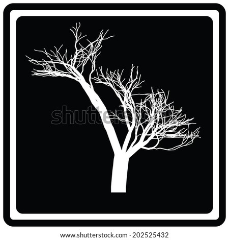 Black icon white tree. Vector. 8 eps - stock vector
