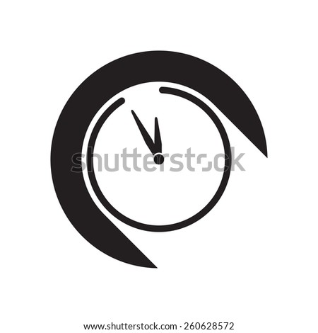 black icon with clock and white stylized shadow - stock vector