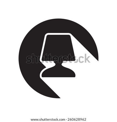 black icon with desk lamp and white stylized shadow - stock vector