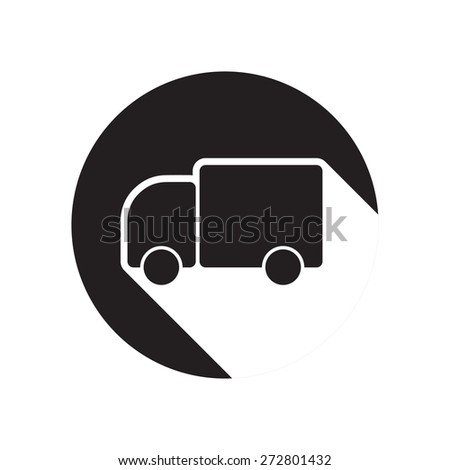 black icon with lorry car and white stylized shadow - stock vector