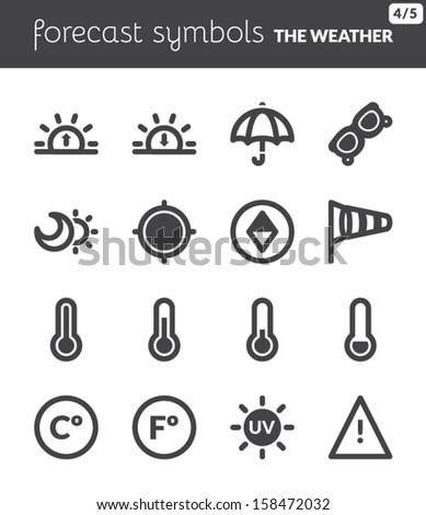 Black icons about the weather. Forecast symbols 2 - stock vector