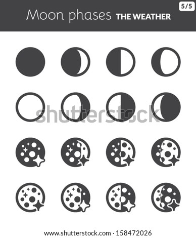Black icons about the weather. Moon phases - stock vector