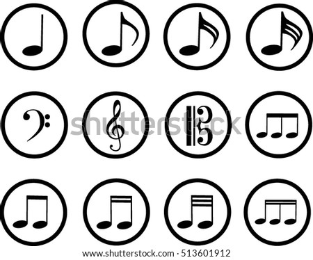 Black Icons Music Treble Clef Bass Stock Vector Royalty Free