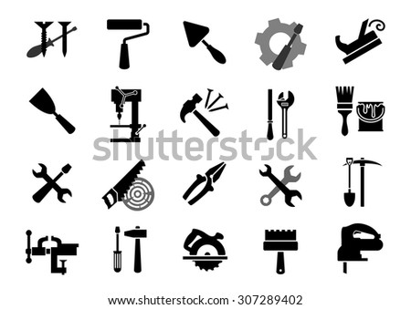 Black icons of of screwdrivers, wrench, paint roller and brush, trowel, jack plane, hammer, pliers, saw, rasp, drill press, pickaxe, shovel, vice, miter saw, spatulas, fretsaw - stock vector