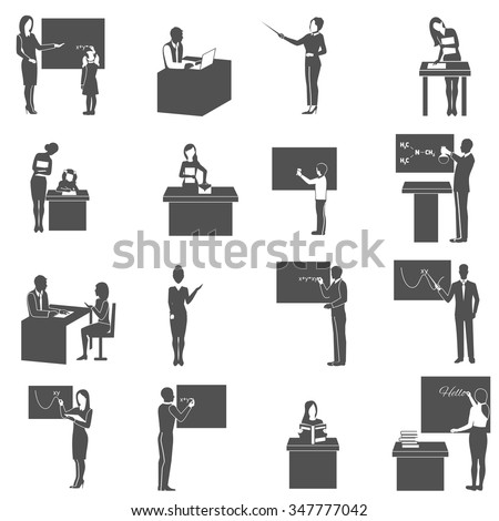 Black  icons set with  teacher explains subject at  blackboard in class isolated vector illustration - stock vector