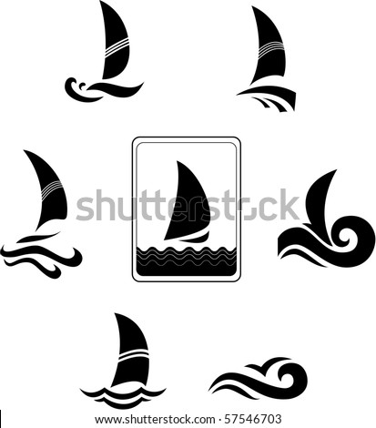 Black icons with the image of yachts on a white background. Company logo design. - stock vector