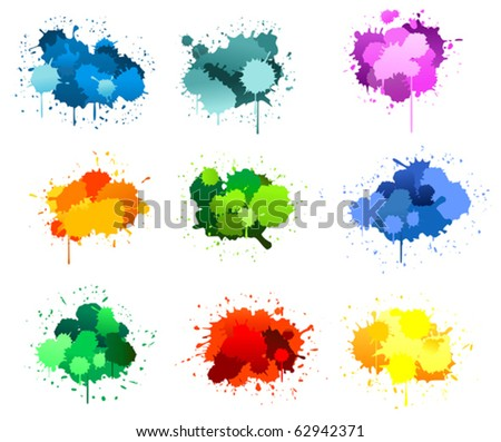 Black ink blots isolated on white. Jpeg version also available in gallery - stock vector