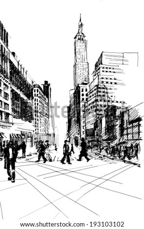 Black ink-drawing of city avenue with pedestrians and set of skyscrapers in New York - vector image - stock vector
