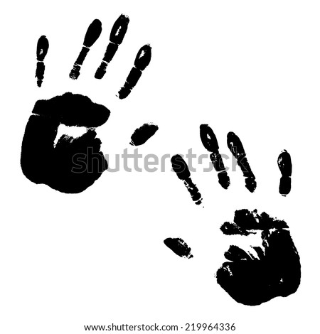 Black ink hand prints isolated on white background. Vector illustration - stock vector