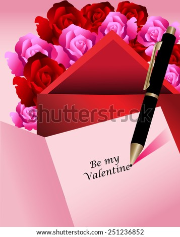 Black inkpen writing in card Be my Valentine surrounded by roses and red envelope