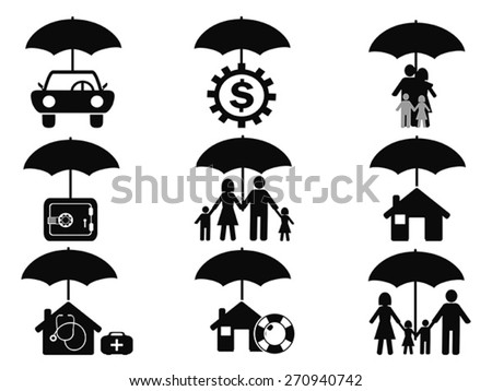 black insurance icons set with umbrella  - stock vector