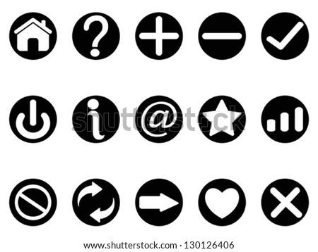 black interface button icons - stock vector