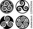 Black isolated celtic triskels set in rounds, vector elements for your design - stock photo