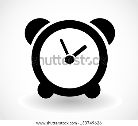 Black isolated clock icon on white background vector - stock vector