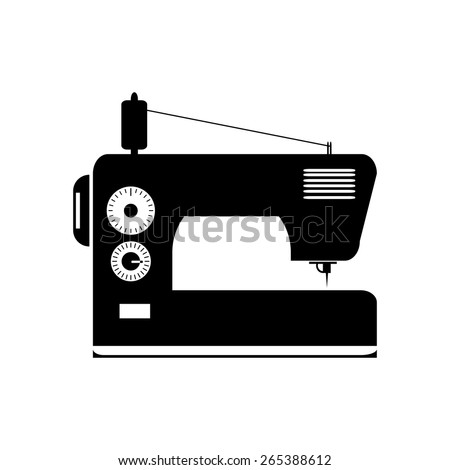 black isolated contour silhouette of sewing machine - stock vector