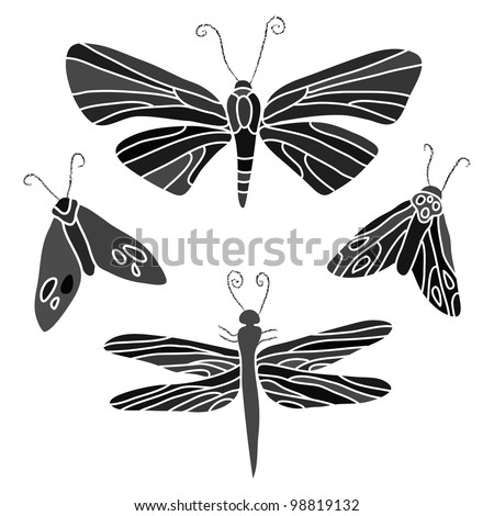 black isolated insects illustration set - stock vector