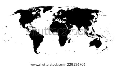 Black isolated World map EPS8 vector file - stock vector