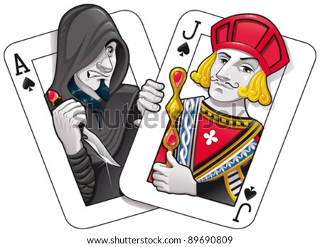 Black Jack. Funny cartoon and vector illustration - stock vector