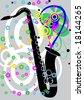 Black jazz saxaphone with flowers vector illustration - stock vector