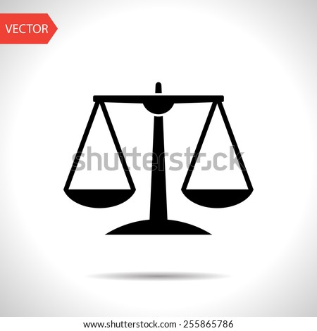 Black Justice scale icon on white background - stock vector