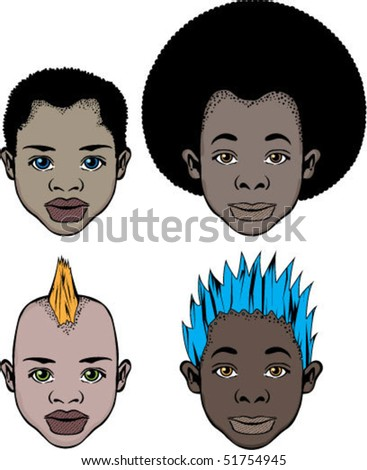 Black Kids faces - stock vector