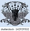 Black king / Also available in separate layer the original vector without scratch - stock vector