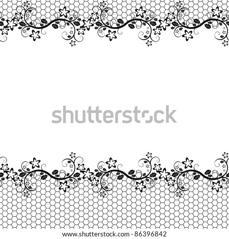 black lace on white background. Vector seamless background - stock vector