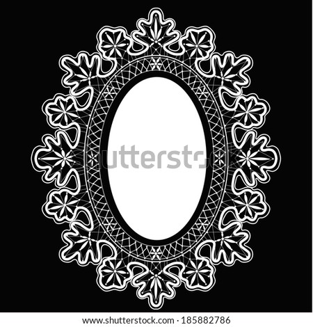 Black lace oval frame, vector. - stock vector