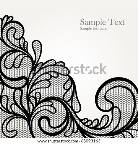 Black lace vector design - stock vector