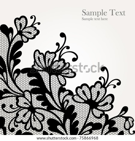 Black lace vector design  All shape available under clipping mask - stock vector