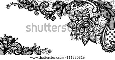Lace Flowers Drawings Black Lace Vector Design