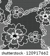 Black lace vector fabric seamless  pattern with FLOWERS - stock vector