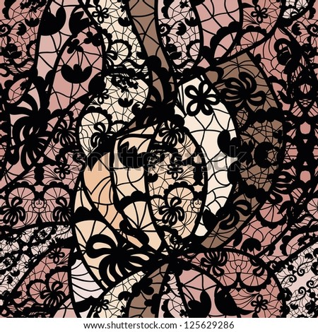 Black lace vector fabric seamless pattern with lines and flowers - stock vector