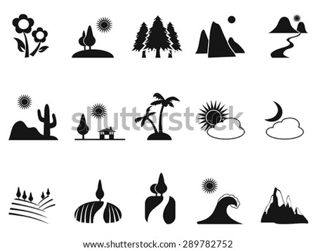 black landscape icons set - stock vector