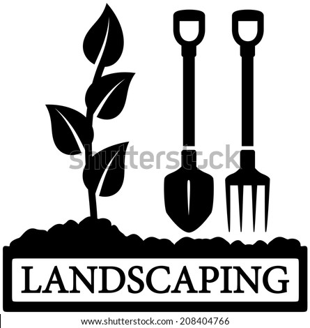 black landscaping icon with sprout and gardening tools silhouette - stock vector