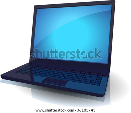 Black laptop with blue screen. Vector illustration.