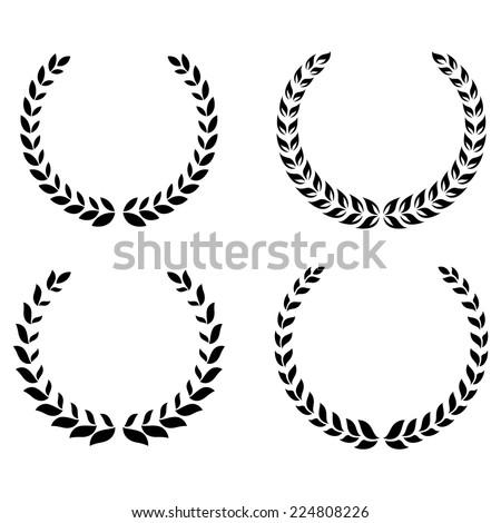 Black laurel wreaths set - stock vector