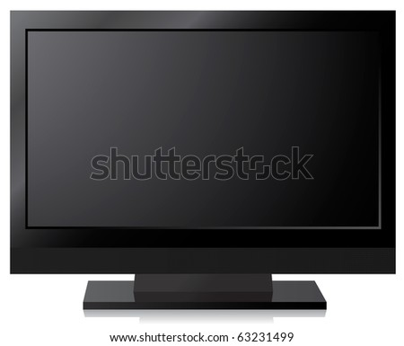 Black LCD, LED, Plasma TV Screen - stock vector