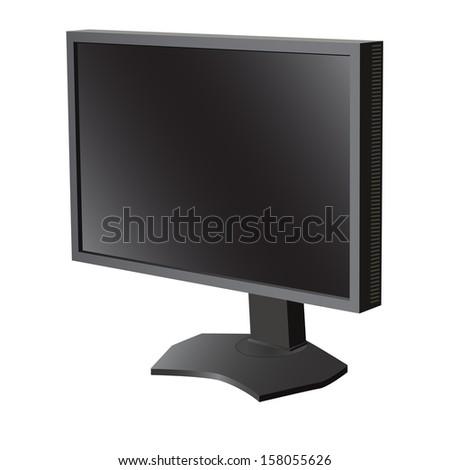 Black lcd tv  monitor on white background. Vector illustration  - stock vector